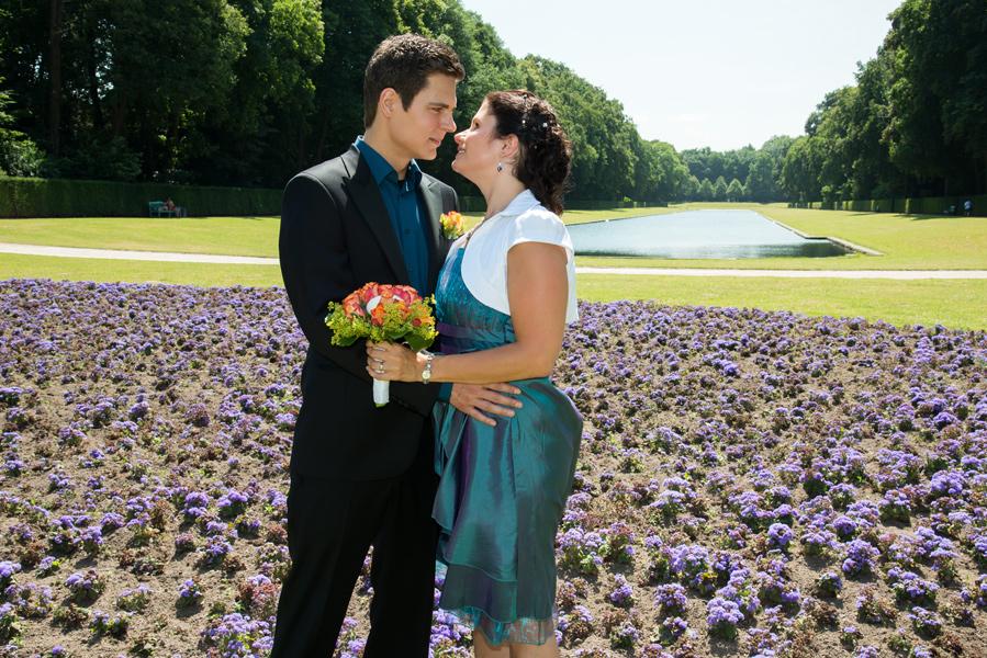 Hochzeitsfotos im Park von Schloss Benrath, Düsseldorf